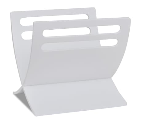 vidaXL Suport din lemn pentru reviste, vertical, alb[5/7]