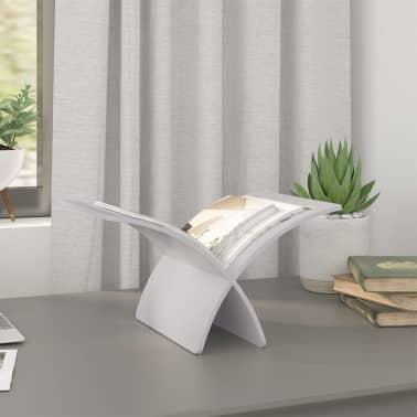 vidaXL Suport din lemn pentru reviste, vertical, alb[3/7]