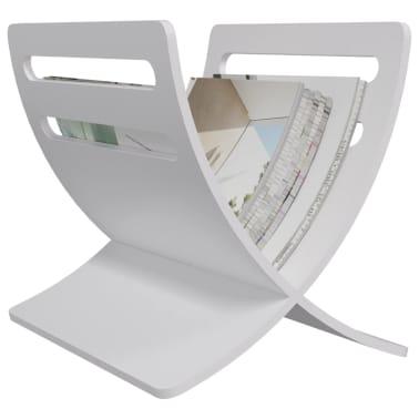 vidaXL Suport din lemn pentru reviste, vertical, alb[4/7]