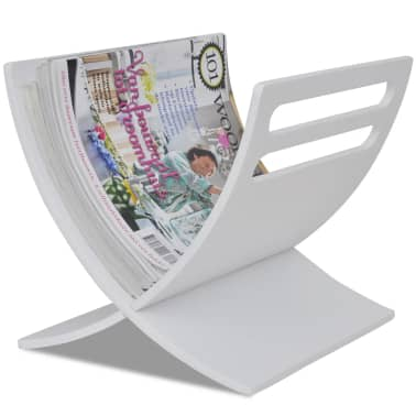 vidaXL Suport din lemn pentru reviste, vertical, alb[1/7]