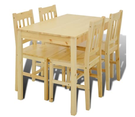Wooden Dining Table with 4 Chairs Natural[2/8]