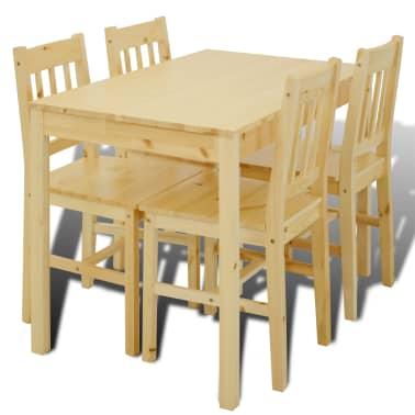 Houten eetkamertafel met vier stoelen (naturel)[2/8]