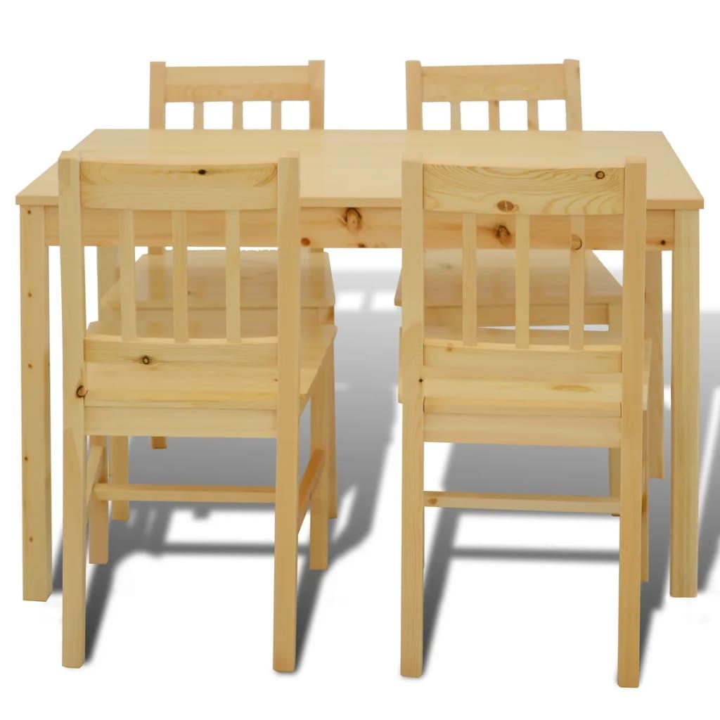 vidaXL Houten eetkamertafel met vier stoelen (naturel)