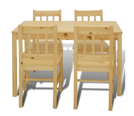 Wooden Dining Table with 4 Chairs Natural[3/8]