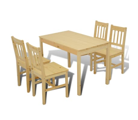 Wooden Dining Table with 4 Chairs Natural[6/8]