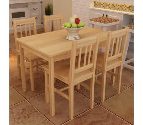 Houten eetkamertafel met vier stoelen (naturel)[1/8]
