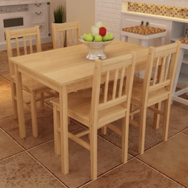 Wooden Dining Table with 4 Chairs Natural[1/8]