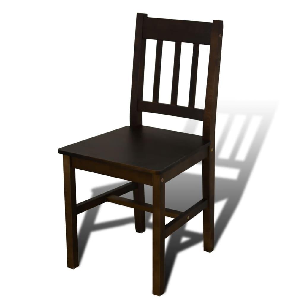 vidaXL Houten eetkamertafel met vier stoelen (bruin)