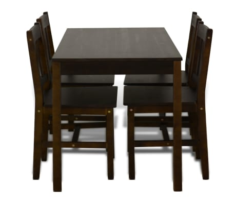 Wooden Dining Table with 4 Chairs Brown[5/8]