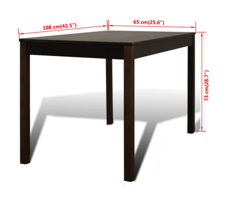 Wooden Dining Table with 4 Chairs Brown[8/8]