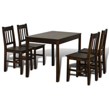 Wooden Dining Table with 4 Chairs Brown[6/8]