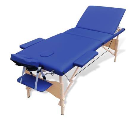 Lettino Massaggio Pieghevole Usato.Lettino Da Massaggio Pieghevole 3 Zone Legno Blu Vidaxl It