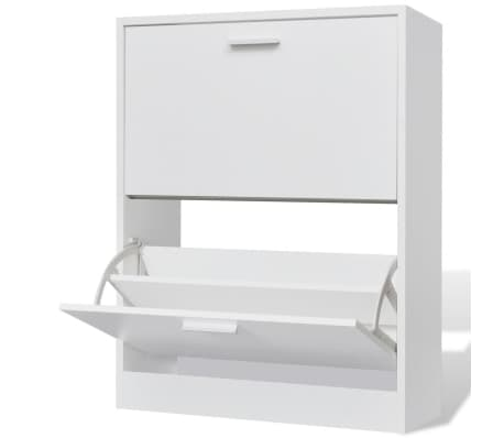 White Wooden Shoe Cabinet with 2 Compartments[1/6]
