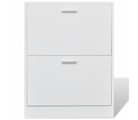 White Wooden Shoe Cabinet with 2 Compartments[3/6]