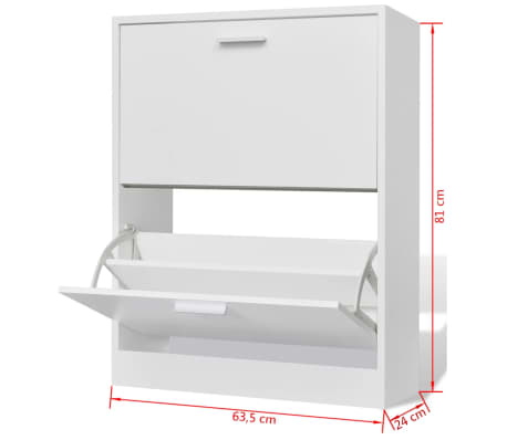 White Wooden Shoe Cabinet with 2 Compartments[6/6]