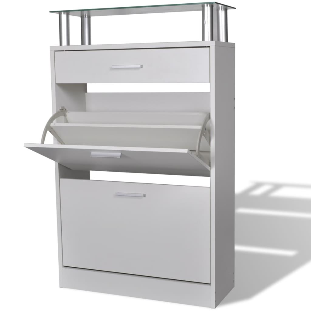 vidaXL Pantofar cu un sertar și un raft superior din sticlă, lemn, alb poza 2021 vidaXL