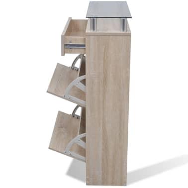 vidaXL Batų spintelė su stalčiumi ir stikline lentyna, balta, ąžuolo imit.[6/8]