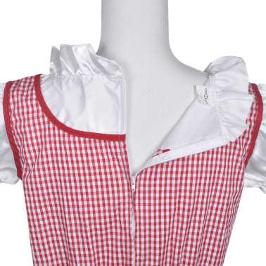 vidaXL Dirndl jurk Oktoberfest met schort rood M/L[5/7]