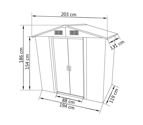 Grey Apex Roof Metal Garden Shed Incl Foundation 2 7 M3
