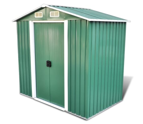 Green Apex Roof Metal Garden Shed Incl. Foundation 95.3 F3[1/8]