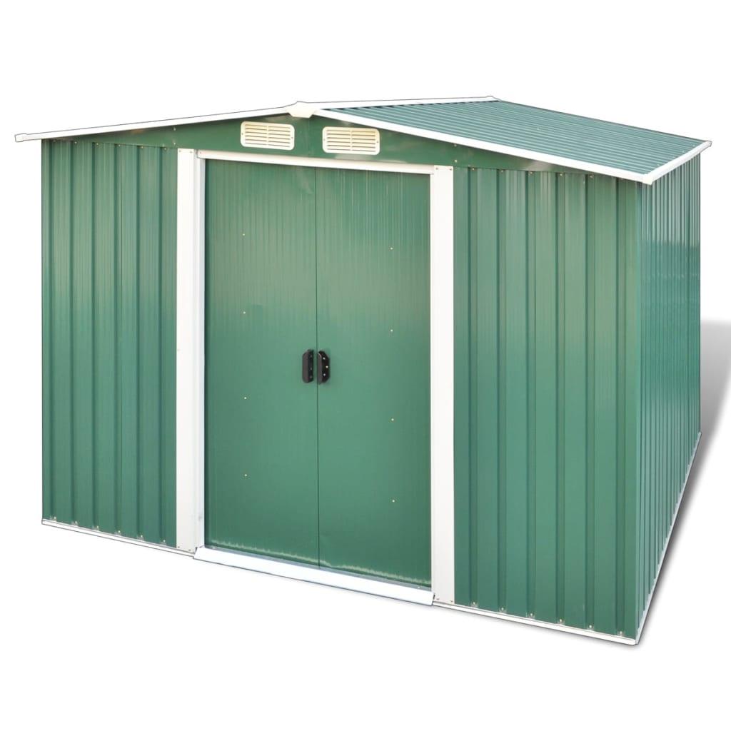 Zelená kovová zahradní kůlna, sedlová střecha, podlahový rám, 5,3 m3
