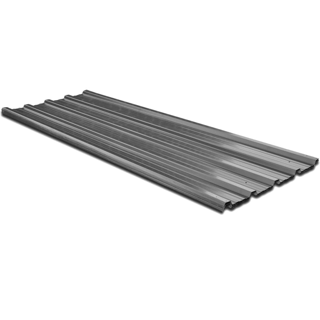 12 ks šedých kovových střešních panelů , 129 x 45 cm