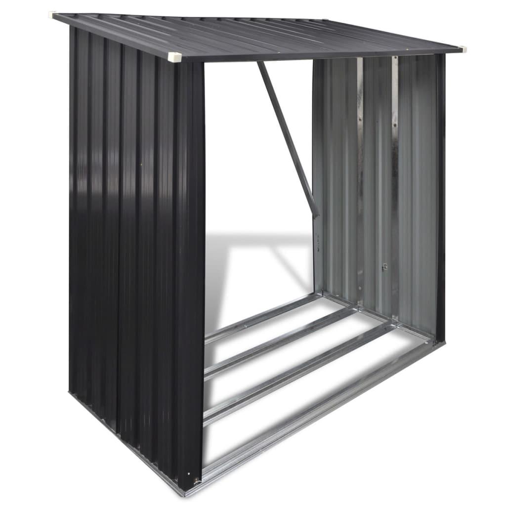 Kovový přístřešek pro ukládání dřeva, šedý
