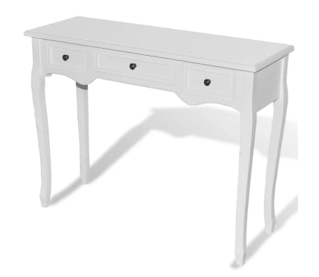 vidaXL Dressing Console Table with Three Drawers White[2/7]
