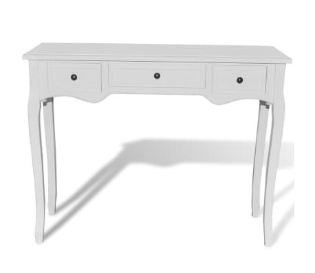 vidaXL Dressing Console Table with Three Drawers White[3/7]