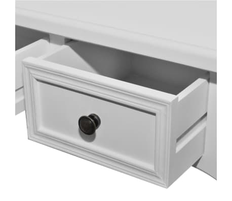 vidaXL Dressing Console Table with Three Drawers White[5/7]