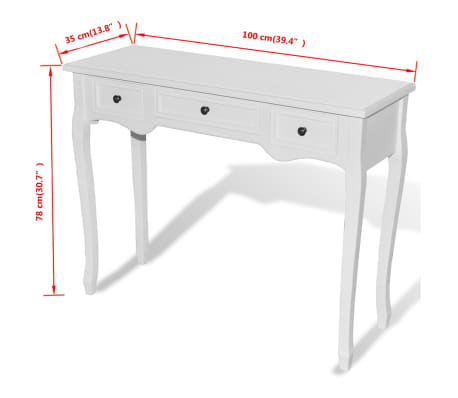vidaXL Dressing Console Table with Three Drawers White[7/7]