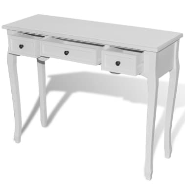 vidaXL Dressing Console Table with Three Drawers White[4/7]