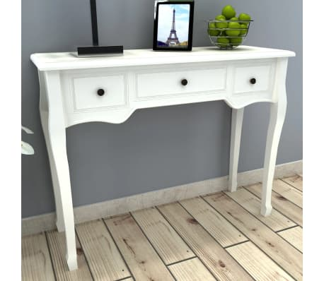 vidaXL Dressing Console Table with Three Drawers White[1/7]