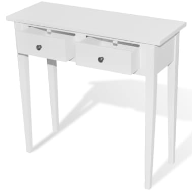White Dressing Console Table with Two Drawers[2/6]