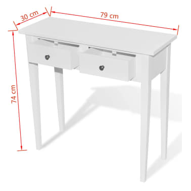 White Dressing Console Table with Two Drawers[6/6]