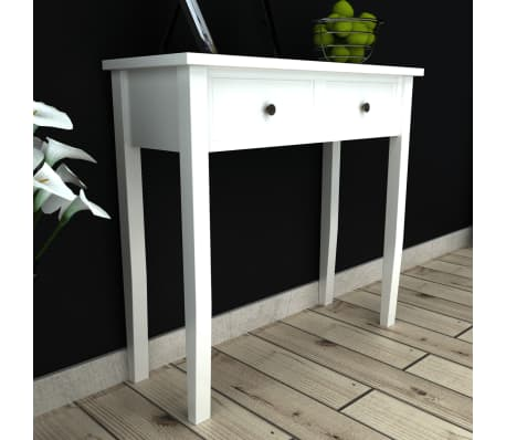 acheter vidaxl table de console et coiffeuse avec 2 tiroirs blanc pas cher. Black Bedroom Furniture Sets. Home Design Ideas