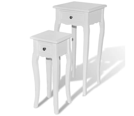vidaXL Nesting Side Table Set 2 Pieces with Drawer White[2/7]