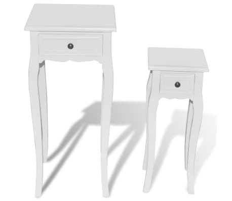 vidaXL Nesting Side Table Set 2 Pieces with Drawer White[3/7]
