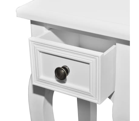 vidaXL Nesting Side Table Set 2 Pieces with Drawer White[6/7]