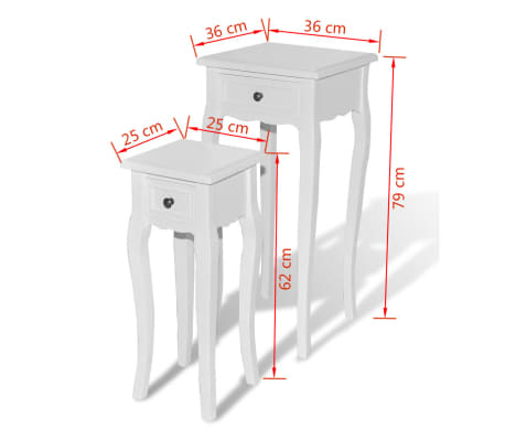 vidaXL Nesting Side Table Set 2 Pieces with Drawer White[7/7]