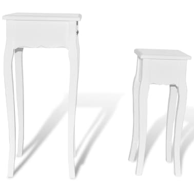 vidaXL Nesting Side Table Set 2 Pieces with Drawer White[4/7]