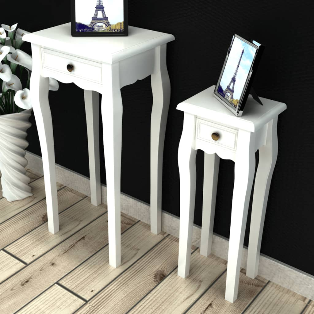 Bílé telefonní / odkládací stolky se zásuvkou, 2 ks různé velikosti