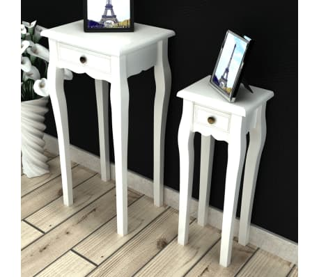 vidaXL Nesting Side Table Set 2 Pieces with Drawer White[1/7]
