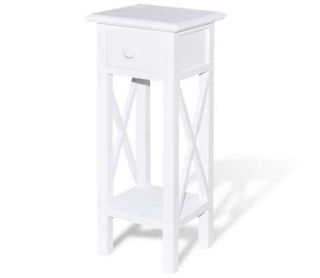 vidaXL Side Table with Drawer White[2/6]