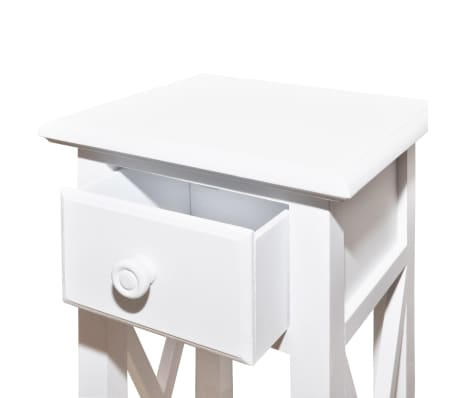 vidaXL Side Table with Drawer White[4/6]