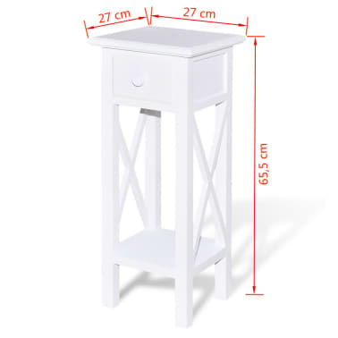 vidaXL Side Table with Drawer White[6/6]