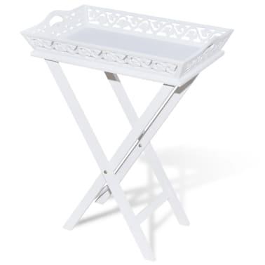 vidaXL Tarjotinpöytä Valkoinen[2/7]