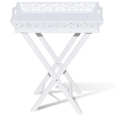vidaXL Tarjotinpöytä Valkoinen[3/7]