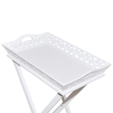 vidaXL Tarjotinpöytä Valkoinen[6/7]