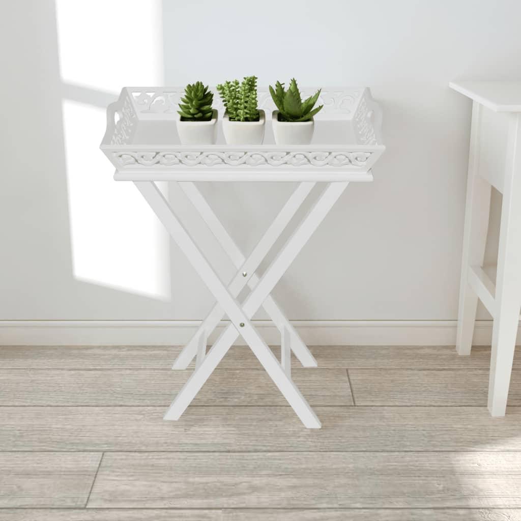 Bílý stolek s podnosem na květináče